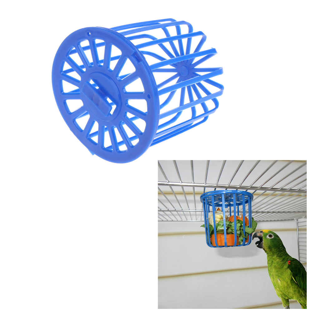 Bird Parrot Feeder Cage Fruit Vegetable Holder Cage Accessories Hanging Basket Container Toys Pet Bird Supplies C42