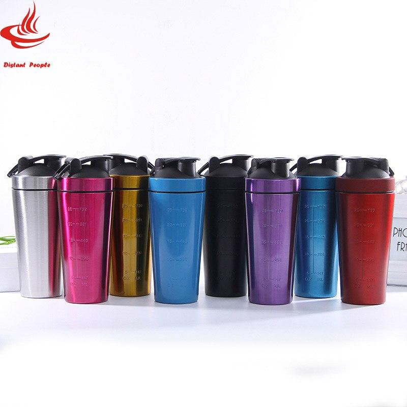 Proteina shaker Bottiglia di Singolo strato di Acciaio inossidabile Palestra Shaker Bollitore Sport Frullato Miscelatore Acqua di Bottiglia di Proteine Del Siero di latte per Il Fitness