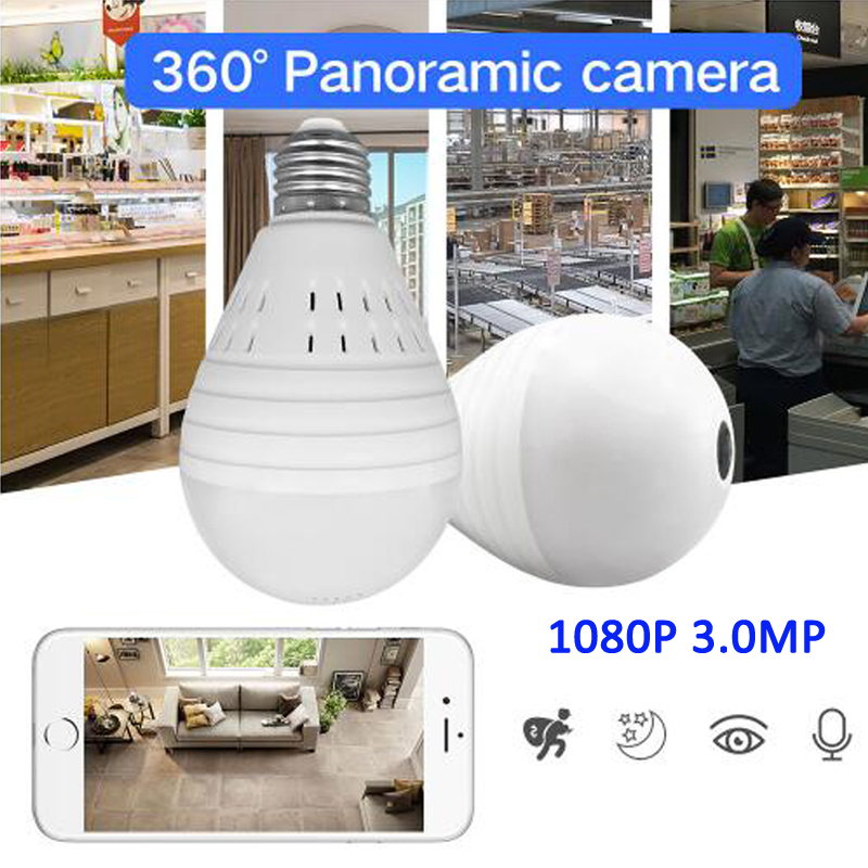 1080 p Lampe Licht Wireless IP Kamera 3,0 <font><b>MP</b></font> 360 Grad Panorama FishEye Sicherheit CCTV Kamera Wifi P2P Motion Erkennung IP Kamera image