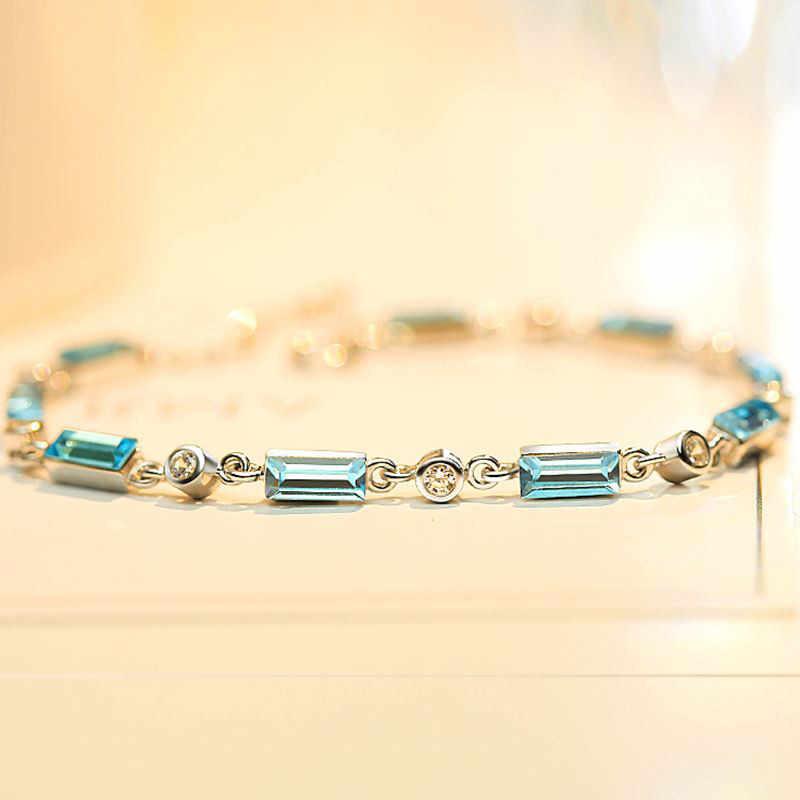 2018 Fashion Simple Rectangular Blue Crystal Bracelet Sparkling Rhinestone Zircon Attractive Jewelry for Women BR527