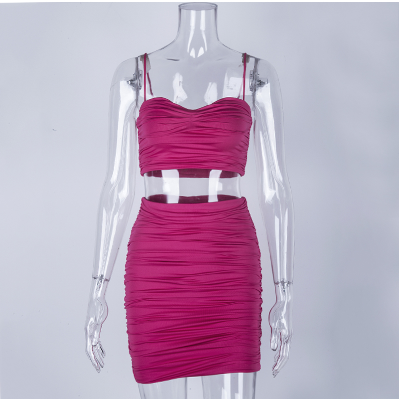 NewAsia 2 Layers Ruched Two Piece Set Pink Outfits Set Crop Top And Mini Skirt Set 2019 Summer Party Wear Sexy Two Piece Outfits
