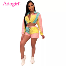 Adogirl Color Patchwork Women Casual Two Piece Set Tracksuit Zipper Turn Down Collar Long Sleeve Sweatshirt Crop Top + Shorts