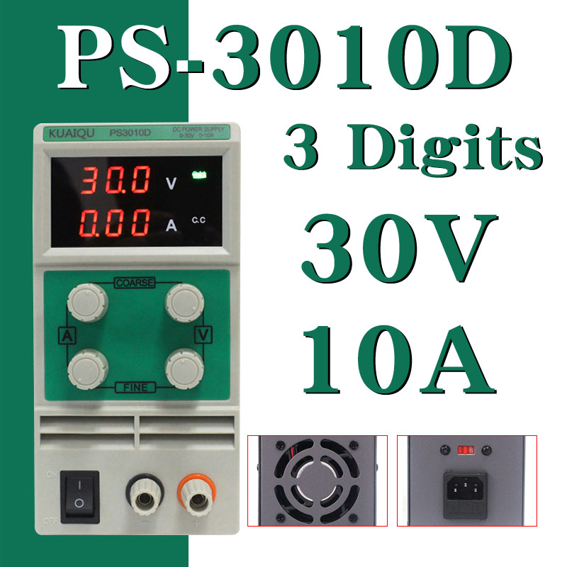 KUAIQU mini DC Power Supply PS3010D 60V 5A Switching laboratory Digital Variable Adjustable DC power supply