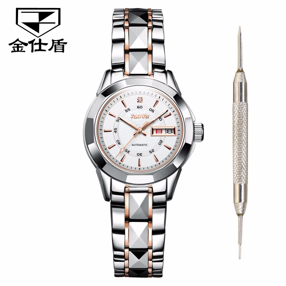 Women watches Luxury JSDUN Top Brand Tungsten Steel Auto date waterproof mechanical watches Fashion Dress clock