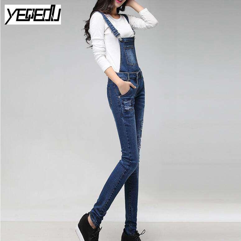 #1112 2018 джинсовый комбинезон модные джинсовые комбинезоны женские стрейч Тощий бинты комбинезон Macacao джинсы стрейч тела feminino