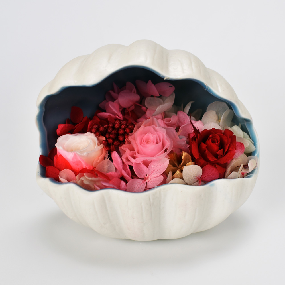 Immortal flower In Ceramic Shell DIY Handmade Rose Decoration For Birthday Gift in Artificial Dried Flowers from Home Garden