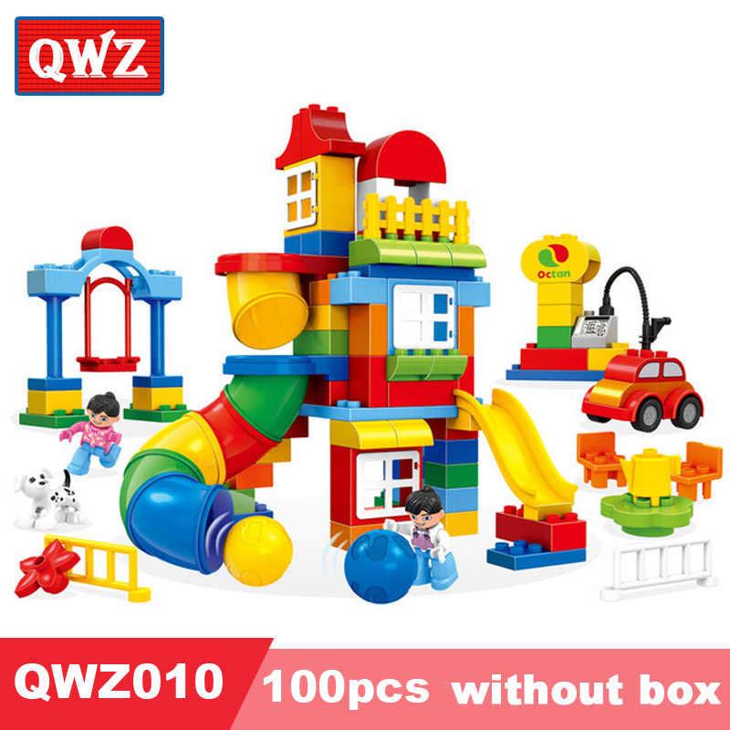 QWZ 100 шт. большой размеры Happy Pipeline строительство Конструкторы развивающие кирпичи дети игрушечные лошадки Совместимость с LegoeING Duplos