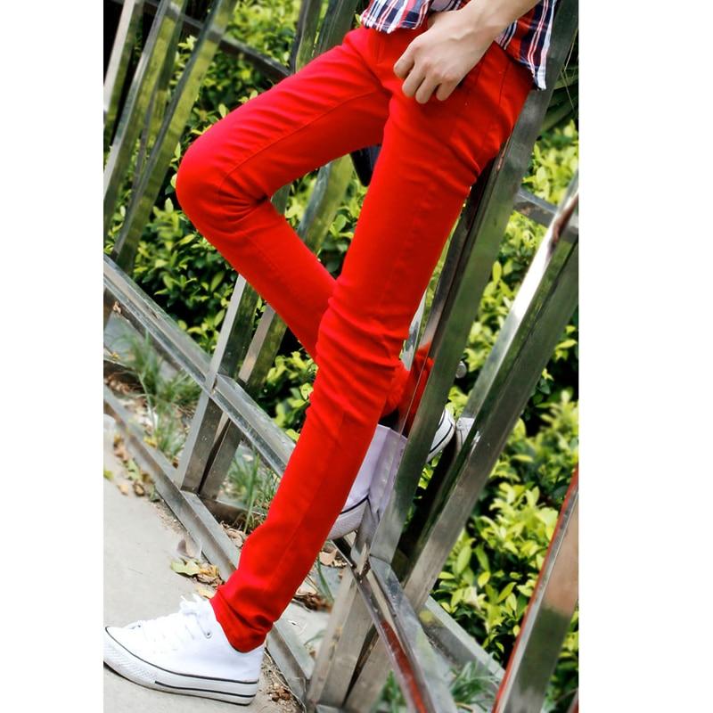 Sıcak Stil 2019 Moda Rahat Erkek Katı Kırmızı Manşet Bacak - Erkek Giyim - Fotoğraf 2