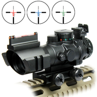 4X32 Prismatic Rifle Scope with Fiber Optic Sight Tri illuminated RED BLUE GREEN BDC Recticle