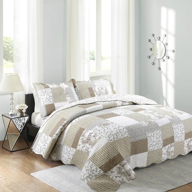 chausub vintage bettdecke quilt set 3 st cke gewaschener. Black Bedroom Furniture Sets. Home Design Ideas