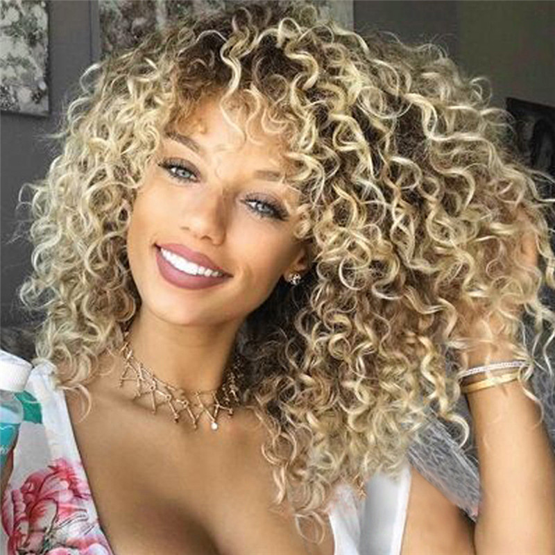 natural Wig Stands Blonde Kinky Curly Wig Afro American Wigs Soft Synthetic Wig for Fashion Women