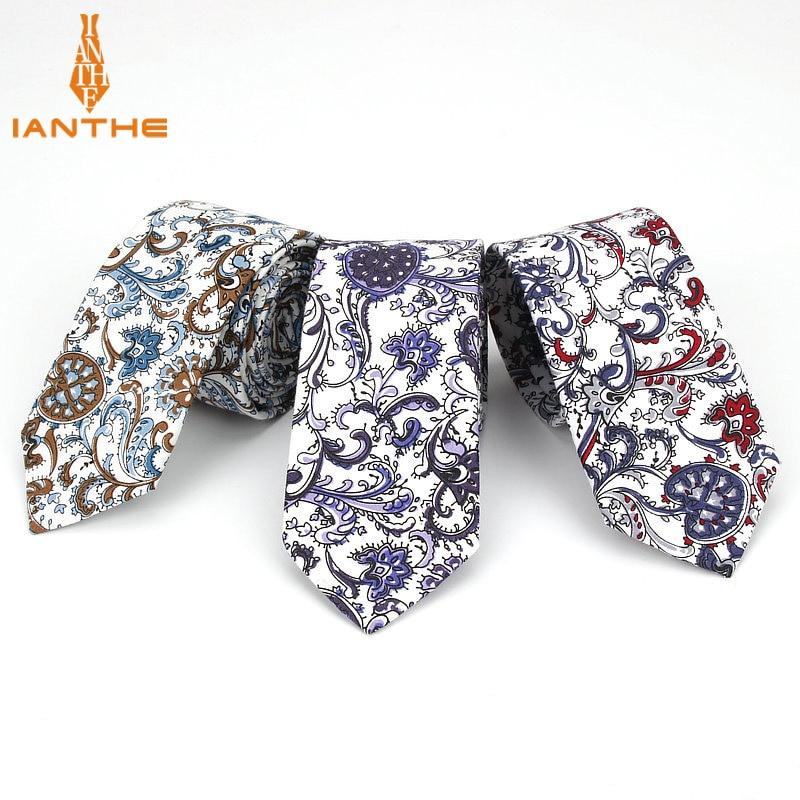 6CM Brand New Men's Fashion Paisley Printed Vintage Slim Neck Tie For Man Classic Narrow Skinny Cotton Ties Cravatas Gravatas