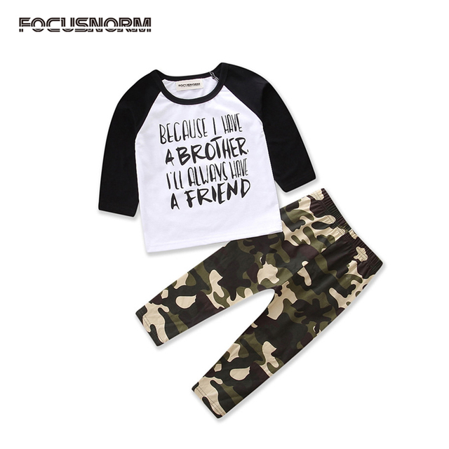 fe5563df cool Kids Baby Boys clothes Long Sleeve letter print T-shirt long  Camouflage Pants Leggings autumn Outfits Set Clothes for boys