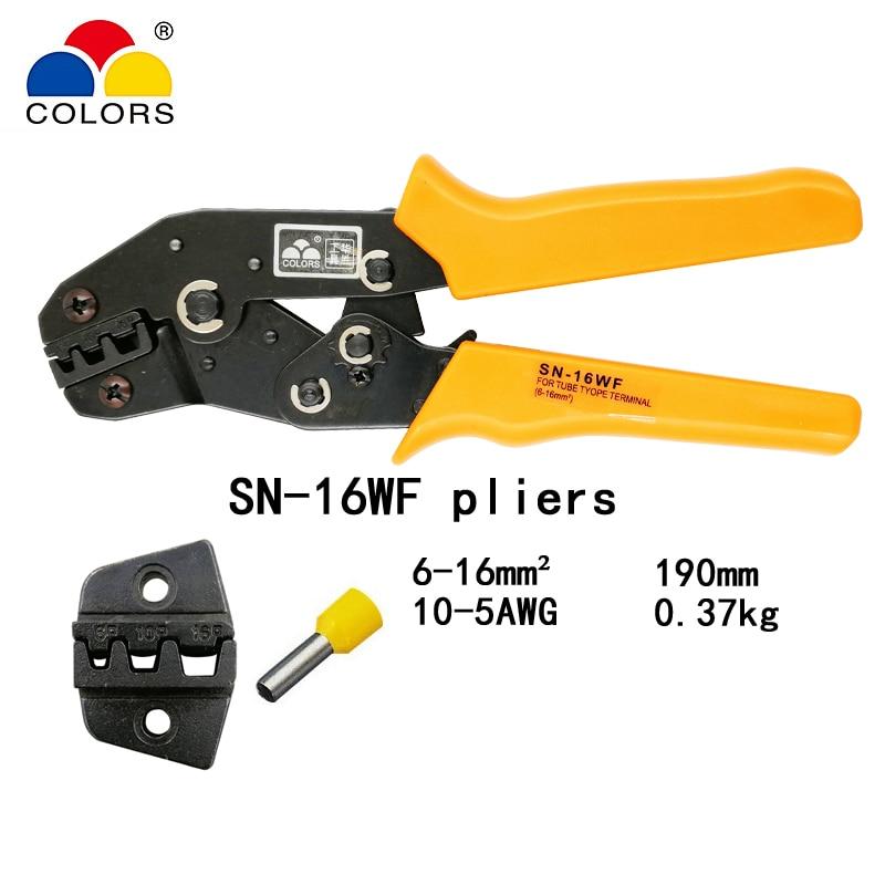 Farben Sn-16wf Crimpen Zange 6-16mm2 10-5awg Für Rohr Isolierte Und Nicht Isolierte Aderendhülsen Terminals Clamp Hand Werkzeuge Handwerkzeuge Zangen