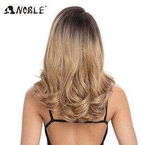 Image 5 - Szlachetna peruka syntetyczna dla czarnych kobiet modna koronkowa peruka na przód luźna fala włosy syntetyczne 20 Cal włosy typu Ombre syntetyczna koronka koronkowa peruka na przód