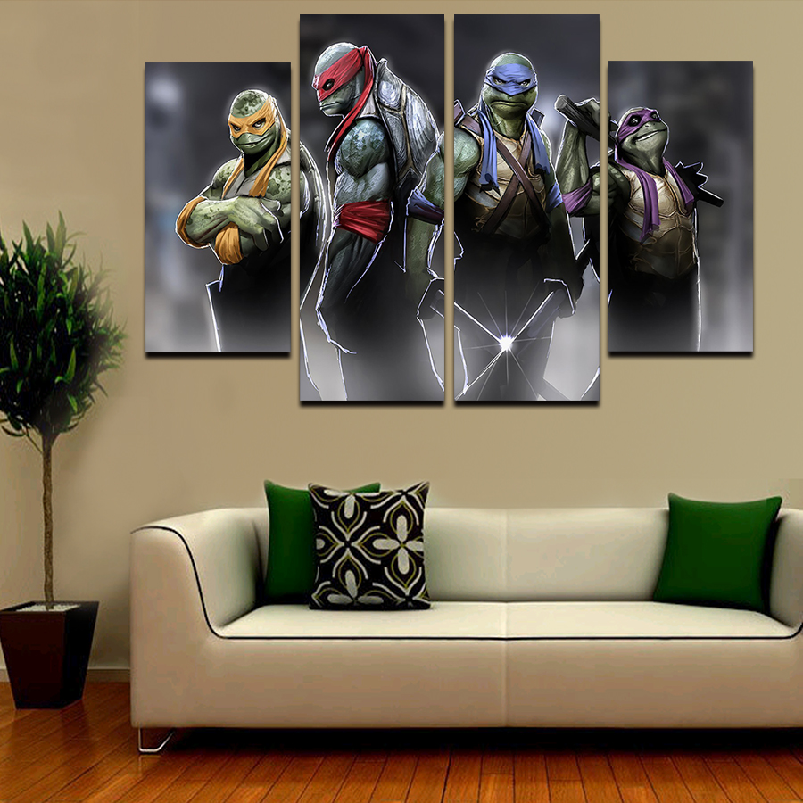 2016 hot 4pcs large hd teenage mutant ninja turtles with abstract 2016 hot 4pcs large hd teenage mutant ninja turtles with abstract canvas print painting for living room wall art picture gift in painting calligraphy from amipublicfo Image collections