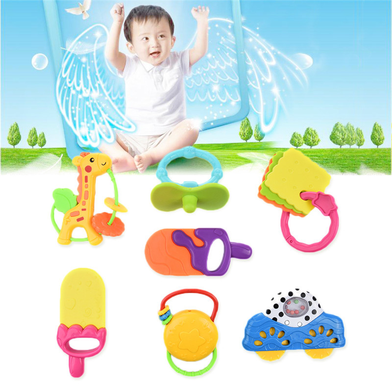 New 7Pcs/set Baby Rattle Baby Educational Toy Bell and Gutta-percha Play Set Baby Rattles Toy Baby Rattles Mobile Toy