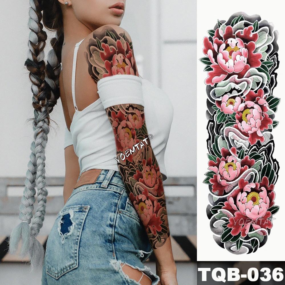 New 1 Piece Temporary Tattoo Sticker Sea Of Vibrant Pink Lotus Tattoo With Arm Body Art Big Sleeve Large Fake Tattoo Sticker