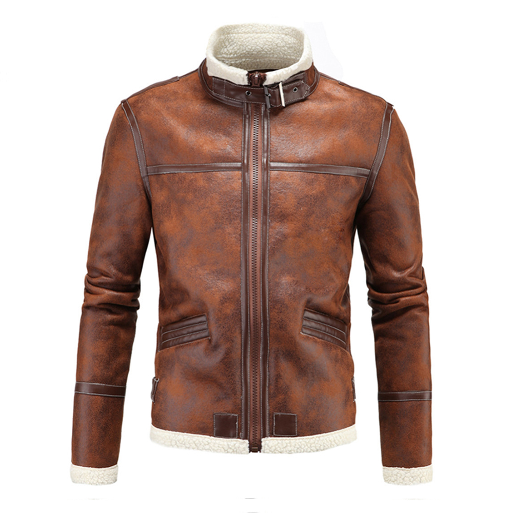 Herobiker Motorcycle Jackets Men PU Leather Jacket Vintage Retro Zipper Biker Punk Classical Windproof Faux Leather Moto Jacket men faux shearling plaid jacket