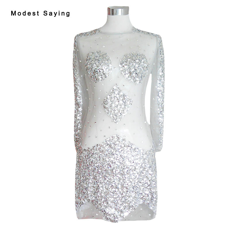 Sexy Sheer Silver Straight Long Sleeve Crystal Beaded   Cocktail     Dresses   2017 Short Party Prom Gowns vestido de festa curto YC54