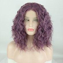 Fantasy Beauty Short Curly Heat Resistant Wigs Purple Hair Glueless Synthetic La