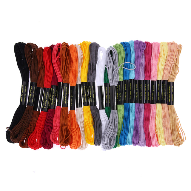 24 Mix Colors Embroidery Thread Hand Floss Sewing Skeins Craft Knitting Spiraea Sewing Tools Cross Stitch Accessories