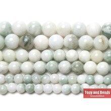 Gema de jade blanca y verde, cuentas de 15