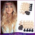 8A Indian Virgin Remy Hair With Closure,4 Bundles 1b/613 Ombre Color Hair With Lace Closure Two Tone Blonde Human Hair