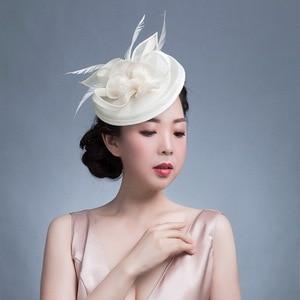 Image 4 - GEMVIE Pink Wedding Holiday Mesh Sinamay Fascinator Hat For Women Feather Flower Party Church Tea Derby Fedora Pillbox Hats