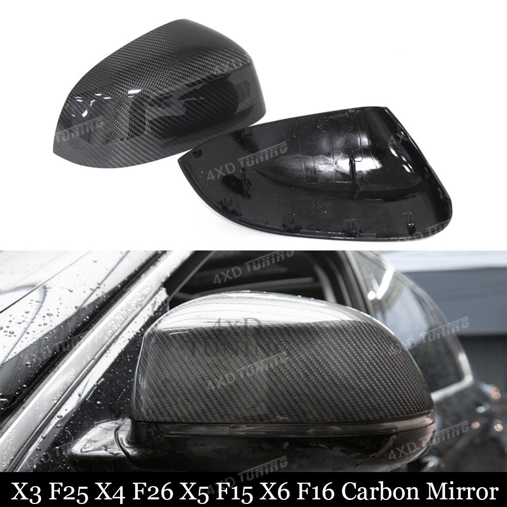 For BMW F15 Mirror Cover X3 F25 X4 F26 X5 F15 X6 F16 Carbon Fiber Rear Side View Mirror Cover gloss black car styling 2014 - UP