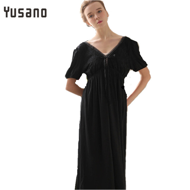 Yusano Summer Women Long Nightgown Lace Cotton Long Sleeve V-Neck Sleep  Dress Nightdress Sexy Sleepwear Black White Pink Nightie d4a45ba53