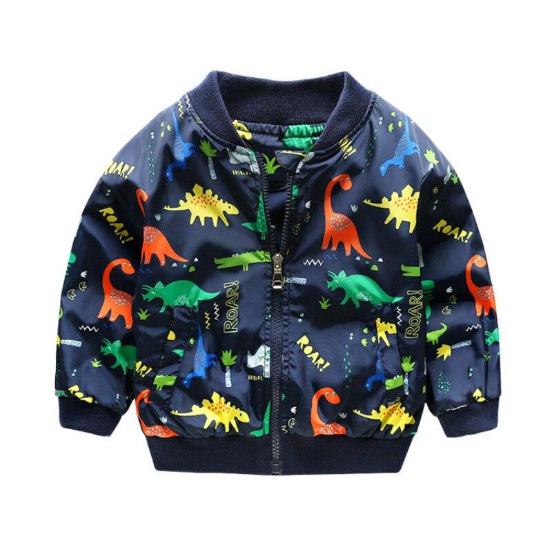 2018 Новые поступления куртка с динозавром Дети Весна спортивные пальто для мальчиков и девочек костюм с капюшоном для детей ветровка Куртки