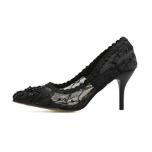 Size 34 Mesh Thin Black Rhinestone Pumps Crystal Pointed Toe Lace 2017 Designer Women Luxury Shoes Brand Jewel High Heels