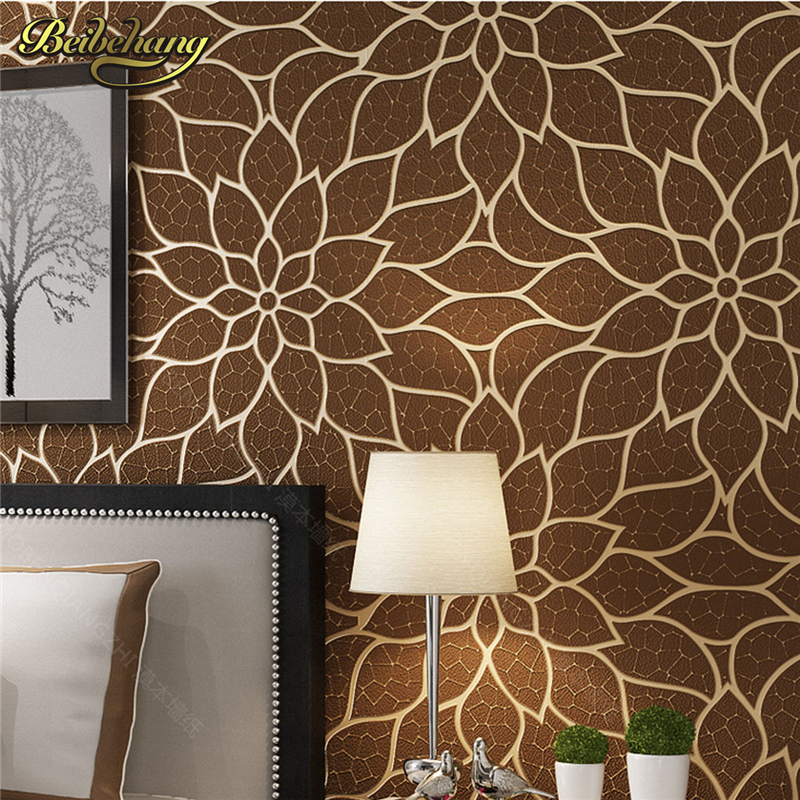 beibehang papel de parede 3d Deer skin floral lotus flower wallpaper roll wall paper Living Room flooring wall papers home decor beibehang papel de parede 3d wallpaper for living room floral wall papers home decor mural wallpaper dark green tv background