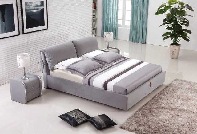 purple fabic soft sleeping bed modern American bedroom furniture China King size