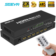 цена на HDMI True Matrix 4x2 HDMI Matriz Switcher Switch Splitter 4 Input 2 Output with 3.5mm Audio Extractor+Optical,Remote Control