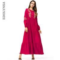 Robe Femme Ete 2018 Women Clothes Plus Size Cotton Red Floral Embroidery Lantern Sleeve Long Party Dress Vestidos De Fiesta D647