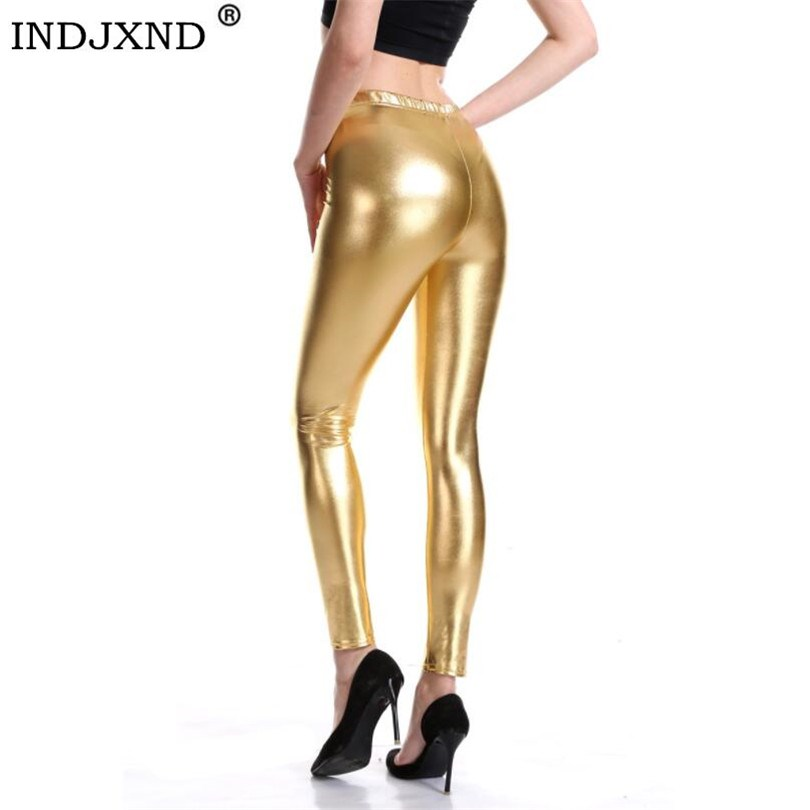 Indjxnd estilo punk rock couro do plutônio do falso leggings calças femininas roxo metálico ouro brilhante sexy brilhando legging fitness