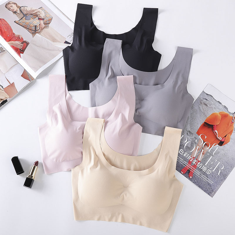 Sports bra ice silk breathable and seamless adhesive underwear gathered to shape body and steel ring sports vest in Sports Bras from Sports Entertainment