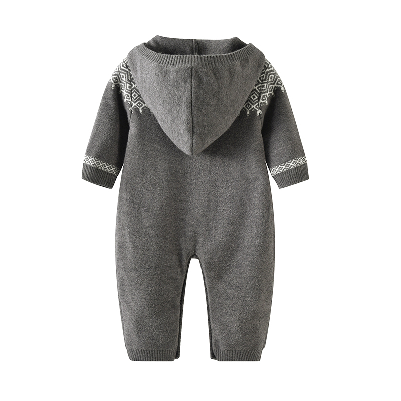 newborn baby long sleeves romper knit Baby Clothes baby winter snowsuit Newborn bebes Hooded Clothes Boys Jumpsuit Coverall in Rompers from Mother Kids