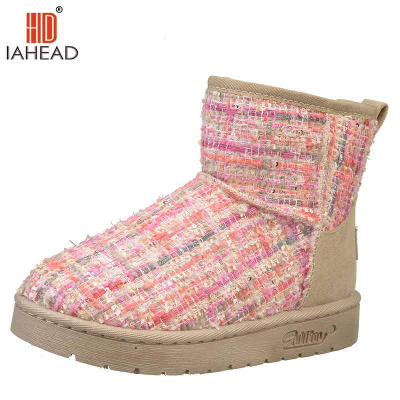 IAHEAD Fashion New Women Winter Shoes Snow Boots Ankle High Slip On Shoes Warm Boots Mix Color UPC151 big yards for women s shoes in the fall and winter of 2016 high thickening bottom anti slip with warm confined new fashion shoes