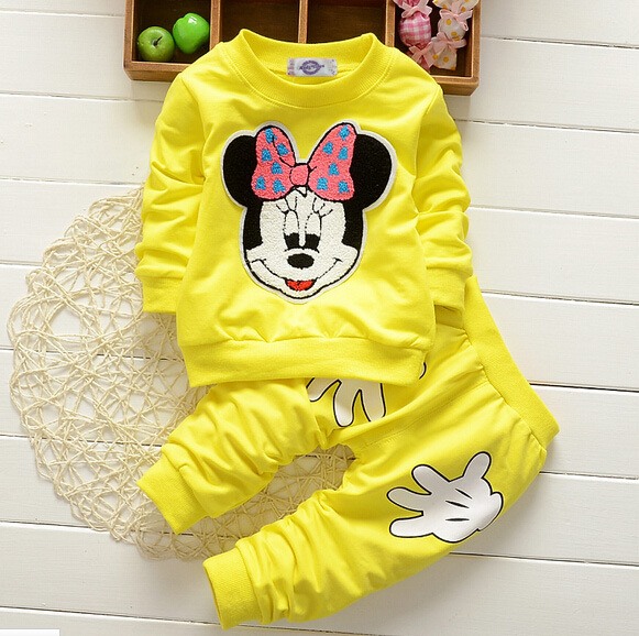 Fashion famous kids cartoon fleece clothing winter long sleeve baby girl tracksuit clothes set