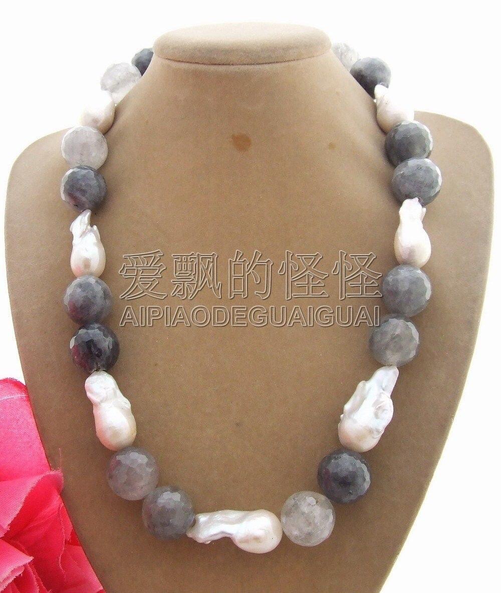 N101001 Excellent! 22mm Perle-Nucléées Perle et Nuageux Quartz Collier