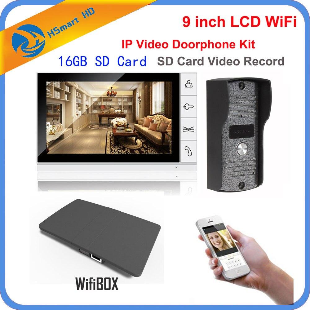 9 inch Monitor IR Camera Wireless WiFi IP Video Doorphone Intercom System add 16GB SD Video