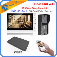 9 inch Monitor IR Camera Wireless WiFi IP Video Doorphone Intercom System add 16GB SD Video Recording Support Android iPhone APP