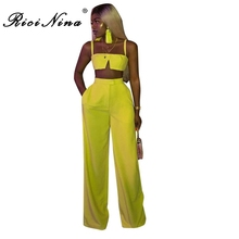 RICININA 2019 Summer Sexy Two Pieces Set Women Sleeveless Crop Tops High Waist Loose Pants Set Ladies Casual Party Two Pieces все цены