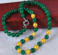 bjc 000923 Real Golden Akoya Cultured Pearl/Green Jade Round Beads necklace 18""