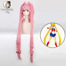 лучшая цена 120cm Sailor Moon Chibi Usa Long Wavy Cosplay Wigs for Women Female Synthetic Hair Wig Double Ponytail and Bun Pink High Quality