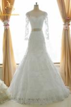 Bealegantom Sexy White Scoop Lace Mermaid Wedding Dresses 2017 Beaded Crystals Appliques Bridal Gowns Vestido De Novia QA1075