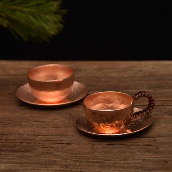 1pc ręcznie zagęszczony czysta miedź herbata wino filiżanka espresso z miedzi dania kuchni antypoślizgowa uchwyt tanie i dobre opinie Dwuczęściowy zestaw Metal feichanpion copper
